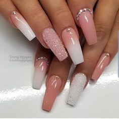 Long Nail Designs Square, Ombre Nail Designs, Nail Crystal Designs, Tapered Square Nails, Nagellack Design, Pink Acrylic Nails, Coffin Nails Ombre, Glam Nails, Fancy Nails