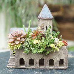 Concrete Fairy House sedums roof | fairiehollow.com