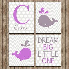 Digital Download Whale Purple Chevron Nursery by indulgemyheart #home #decor #nursery #print #set #whale #animal #marine #nautical #purple #personalized #dream #big #little #one #chevron #polkadot #dot #baby #girl