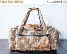 SUMMER SALES Duffle bag handmade canvas leather bag duffel