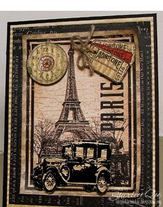 Eiffel Tower, TH vintage car - love this card