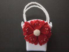 Flower Girl Basket Wedding Red Ivory or White by ArtisanFeltStudio on Etsy