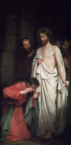 Doubting Thomas, also by Carl Bloch.  The artist places you in a time of tremendous emotion and draws you into the painting as if you were there.  Brilliant!