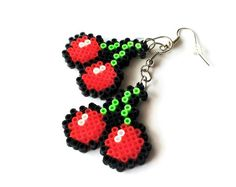 Red Cherry Earrings Mini Perler Beads Mini Hama by Hama Mini, Mini Hama Beads, Diy Perler Beads, Perler Bead Art, Perler Earrings, Bead Earrings, Melty Bead Patterns, Pearler Bead Patterns, Perler Patterns