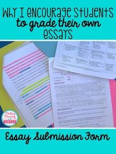 "Save time grading essays with the ideas and tips presented at this blog post. Middle school & high school teachers will enjoy saving time grading papers. Students will be help more accountable and invested in their work. Click through for all the details. {6th, 7th, 8th, 9th, 10th, 11th, and 12th grade classroom or home school} Make students more responsible for their own learning! You can even get a FREE copy of ""Easy Submission Forms"" by clicking through. {freebie}"