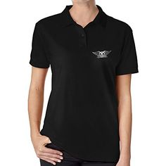 Womens Aerosmith Band Platinum Logo Polo Shirt Black -- Check this awesome product by going to the link at the image.