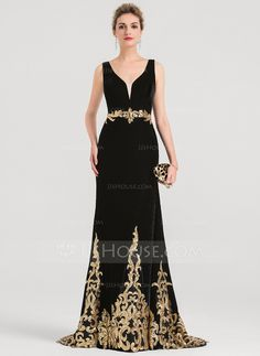 Trumpet/Mermaid V-neck Sweep Train Velvet Evening Dress With Sequins - Evening Dresses - JJ's House Hijab Evening Dress, Long Sleeve Evening Gowns, Cheap Evening Dresses, Girls Formal Dresses, Formal Gowns, Prom Dresses, Pakistani Fashion Party Wear, Perfect Prom Dress, Knee Length Dresses