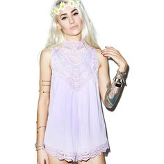 Rise of Dawn Lilac and Lace Playsuit ($88) ❤ liked on Polyvore featuring jumpsuits and rompers
