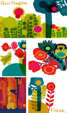 An Illustrator who's not a bit lost! Children's Book Illustration, Botanical Illustration, Textiles, Chris Haughton, Kids Prints, Fun Prints, Animal Sketches, Art Programs, Art Plastique