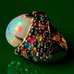 @jmeierfinejewelry. Easter Egg Opal with Tourmaline, Sapphire, Citrine & Emerald pave'. www.johnmeierfinejewelry.com #opalring