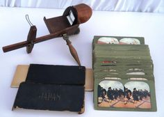 ANTIQUE WOODEN VINTAGE STEREOSCOPE SLIDE VIEWER W/110+ JAPANESE JAPAN CARDS