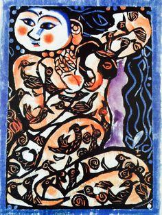 Shiko Munakata, 1945 Block Prints, Art Prints, Fairfield Porter, A Level Art, Nihon, Various Artists, Woodblock Print, Japanese Art, Waterfalls