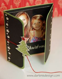 handmade gate fold Christmas Photo Card  ... partially open ... the string wraps around a brad with a punched tree on the back ... beautiful presentation for the yearly Christmas photo ...