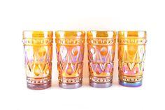 Vintage Dark Amber Carnival Glass Tall by BelleBloomVintage