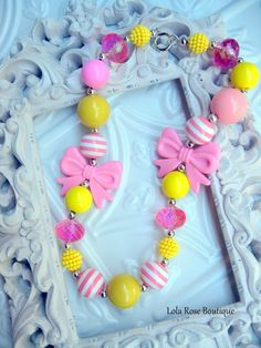 Chunky Bubble Gum Necklace Pink Lemonade Girls