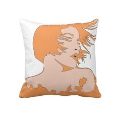 Woman 2 Sided Orange / Brown Pillow
