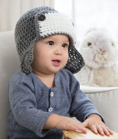 Little Lindy's Aviator Hat Free Crochet Pattern from Red Heart Yarns