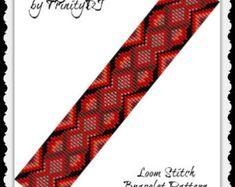 Poppy Reds Loom Bracelet Pattern One by TrinityDJ Loom Band Bracelets, Loom Bracelet Patterns, Beaded Bracelets, Seed Bead Jewelry, Beaded Jewelry, Seed Beads, Jewellery, Beaded Hat Bands, Bead Crochet Patterns