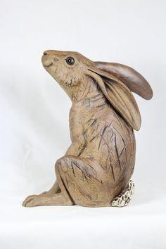 Moon gazing ceramic hare sculpture Ceramic Animals, Clay Animals, Ceramic Art, Rabbit Sculpture, Sculpture Clay, Hare Images, Rabbit Art, Bunny Art, Clay Design