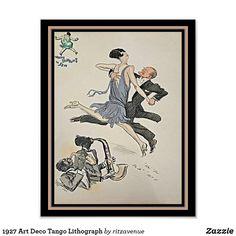Shop 1927 Art Deco Tango Lithograph Poster created by ritzavenue. Apartment Wall Art, Fashion Wall Art, Corner Designs, Custom Posters, Tango, Custom Framing, Art Deco, Vibrant, Creative