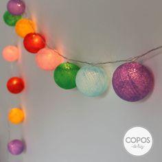 Guirnalda de luz paris bolas de hilo y luz artesanales - Bolas de hilo ...