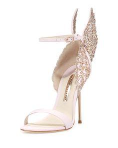 Evangeline Angel Wing Sandal, Pink Glitter by Sophia Webster at Neiman Marcus.