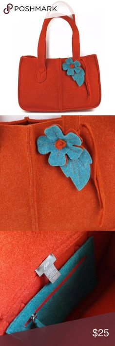 """J JILL Wool Felted Tote Purse 💙 Teal Blue Flower J JILL Wool Felted with Blue Flower Purse Made in Italy. Measures approx. 9""""h x 13.5""""w x 4"""" deep / Strap drop 12""""   Condition: Nice shape, minimal wear. Pre-owned.    ALL ITEMS COME FROM A SMOKE-FREE HOME 🏡 j jill Bags Totes"""