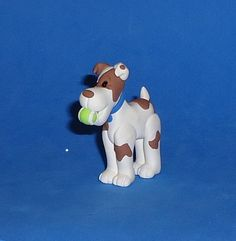 Polymer Clay Dog with Tennis Ball by JHMiniatures on Etsy, $8.00