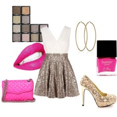 Pops of Pink for New Years outfit idea