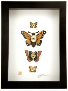 Cabinet of Curiosities Specimen no. 15 - The Monarch Moth Eye Flies  by Mab Graves - Gallery Nucleus
