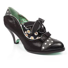 """Force of Beauty  """"Daisy daisy give me your answer do&quot,"""" Yes please I would love to step out in these classic black mid heeled beauts! Featuring a shiny upper with a cut out polka dot and daisy design, small shiny bow, brogue detail and a stitched ribbon lace up front."""
