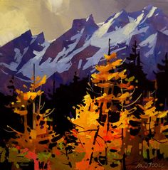 Tangled October, by Michael O'Toole Vancouver, British Columbia, Canada) - New Ideas Landscape Drawings, Watercolor Landscape, Abstract Landscape, Landscape Paintings, Watercolor Art, Painting Inspiration, Art Inspo, Mountain Art, Canadian Artists