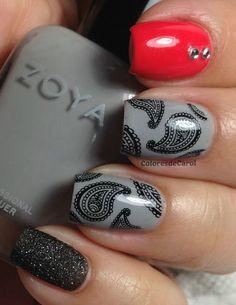 Nail art created by #ColoresdeCarol using #BM315 #nailstamp #ShopBM