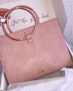 Moda, Top, Handle, Bag, Carnation Pink, Rose Gold, Abbott Lyon, Personalisation, Monogramming, Engrave, Fashion, Gift, Luxury, Snake Skin #pursesrosegold