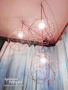 DIY Lighting project that we created featuring @GE Lighting LED bulbs! Learn how to make these lights with wire + spray paint + Ikea SEKOND fixtures and how to save money by using GE's new Energy Smart LED bulbs. #CollectiveBias #shop #LEDSavings #LEDlighting http://hydrangeahippo.com/?p=5995