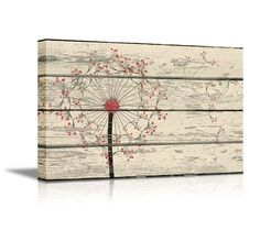 """Dandelion on Vintage Wood Board Background Stretched Canvas Wrap. Ready to Hang - 12"""" x 18"""": Posters & Prints"""