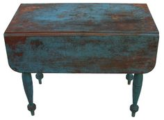 19th century New England drop leaf table, with old Robin Egg blue paint over the original red,, very gracefully turned legs, one board construction.