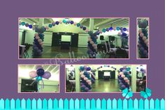Sweet 16 Butterfly Theme balloon decor.  Lavender, Purple, Pink & Teal string of pearl balloon arch, spiral column w/butterfly topper & cluster center piece. #Balloonsville