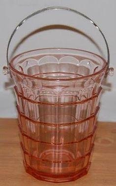 Pink Depression glass ice bucket in Tea Room pattern (1926-1931