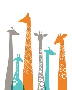 giraffes giclée print on fine art paper. 8X10. turquoise teal blue, orange, gray. $19.00