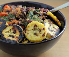 Peruvian Bean Bowl with Red Pepper Sauce - my adapted partial shopping list: adzuki beans, millet, red bell pepper, lime juice, light coconut milk, cashews, carrots, greens of choice, plantain or banana; recipe Joanne Bruno