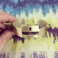 Brass Geometric, Futurisic Cuff Bracelet by AURAVEDASF on Etsy