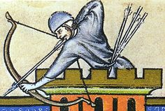 The Maciejowski Bible Bow, well you have to pin this picture don't you, even if the shape of the bow means we don't quite know what type it is? Medieval Archer, Medieval Art, Medieval Manuscript, Illuminated Manuscript, European History, Art History, Larp, Medieval Helmets, 2d Game Art