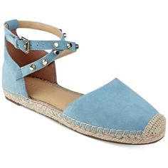 Marc Fisher Maci Espadrille Flats ($89) ❤ liked on Polyvore featuring shoes, flats, light blue suede, studded flats, suede leather shoes, flat pumps, suede flats and light blue suede shoes