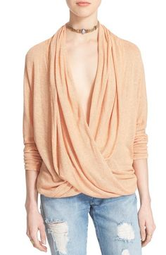 Free People Drapey Wrap Front Knit Top available at #Nordstrom