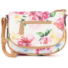 Apt. 9® Harper Mini Crossbody Bag, Women's, Floral Print ($27) ❤ liked on Polyvore featuring bags, handbags, shoulder bags, floral print, white handbags, white crossbody, man bag, white shoulder handbags and crossbody purse