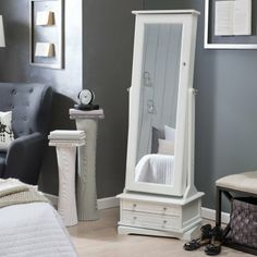 Belham Living Swivel Cheval Jewelry Armoire   White   Floor Mirrors At  Hayneedle