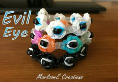 Rainbow Loom Evil Eye Bracelet -  ( Good Luck Charm - Fatima - hamsa hand )