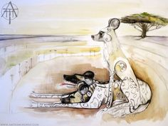 Wild dogs of Serengeti plain in Africa, Painted Dogs, Hunting Dogs, Acacia Tree, Desert, Painting, Watercolour