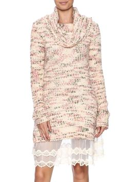 """Cozy, long sleeved, cowl neck sweater dress with lace trim.Dry clean only.    Approx. Measures: 37"""" long from shoulder to bottom hem.   Sweater Lace Dress by Ryu. Clothing - Dresses - Long Sleeve Clothing - Dresses - Sweater Texas"""
